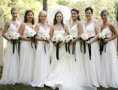 Glamorous Spaghetti Straps White Chiffon and Black Sashes/Ribbons V-neck Bridesmaid Dress #PWD01012566