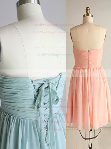 Simple Pink Chiffon Sweetheart Ruffles Lace-up Short/Mini Bridesmaid Dress #PWD01012569