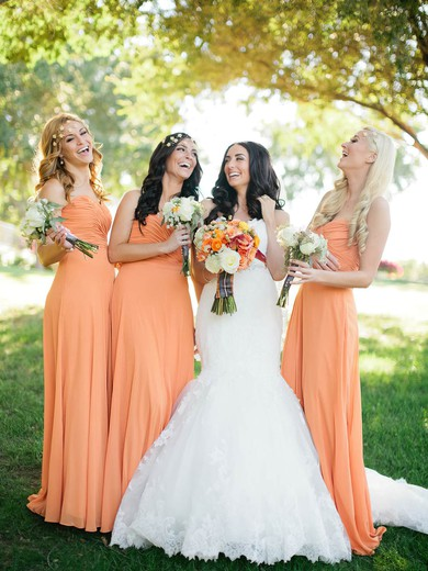 Perfect Sweetheart Orange Chiffon Ruffles Sheath/Column Bridesmaid Dresses #PWD01012572