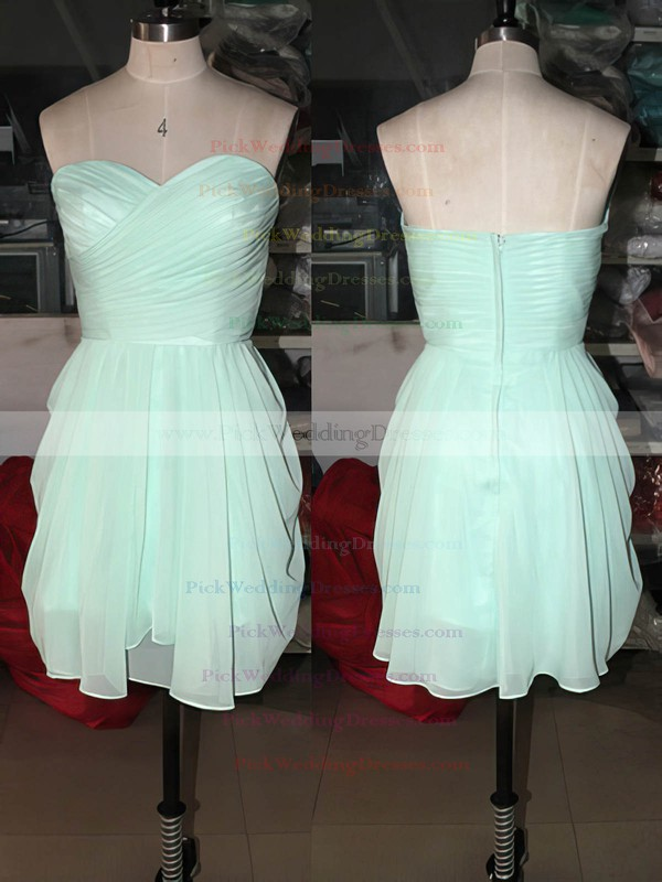 Short/Mini Sage Chiffon Sweetheart Ruffles Cute Bridesmaid Dresses #PWD01012575