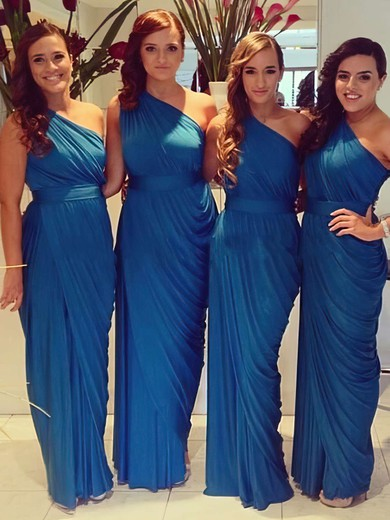 Royal Blue Chiffon Ruched Unique Sheath/Column One Shoulder Bridesmaid Dresses #PWD01012578