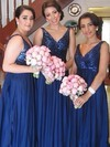 Sparkly V-neck Straps Chiffon Sequined Empire Royal Blue Bridesmaid Dresses #PWD01012579