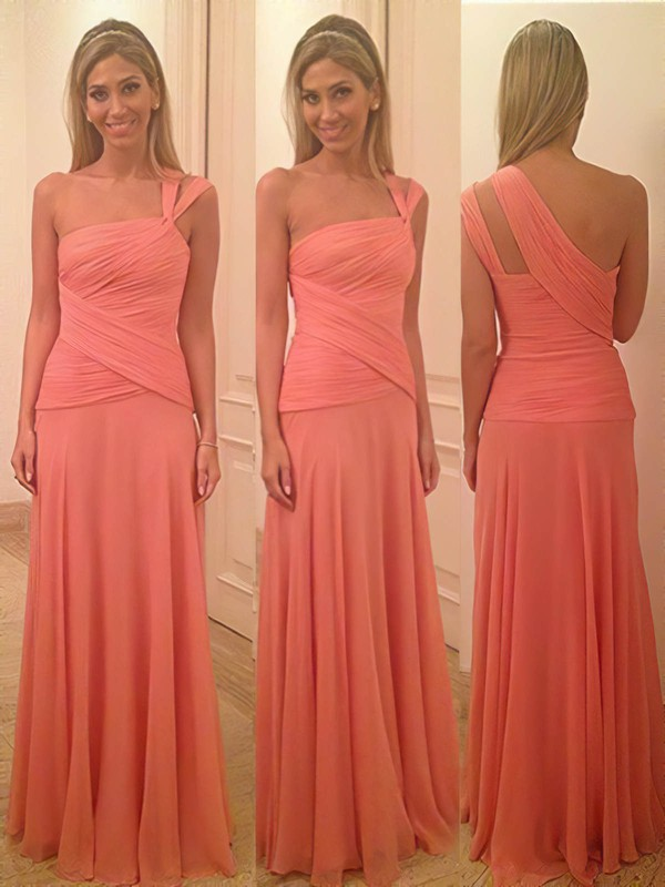 Junior Watermelon Chiffon Sheath/Column Ruffles One Shoulder Bridesmaid Dress #PWD01012580