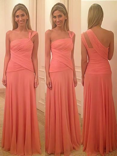 Junior Watermelon Chiffon Sheath/Column Ruffles One Shoulder Bridesmaid Dress #PWD01012580