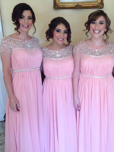 Gorgeous Scoop Neck and Beading Chiffon A-line Pink Bridesmaid Dress #PWD01012583
