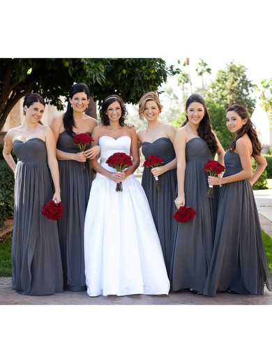 Wholesale Gray Chiffon Sweetheart Ruffles Empire Bridesmaid Dress #PWD01012586