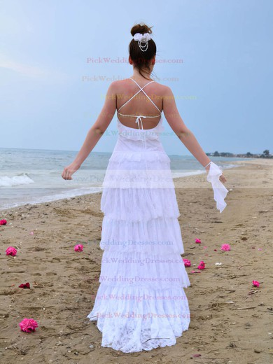 Unusual Scoop Neck Tiered Lace Spaghetti Straps Sweep Train Wedding Dress #PWD00021419