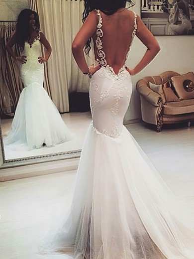 2016 Trumpet/Mermaid Ivory Tulle Appliques Lace Backless Sweetheart Wedding Dress #PWD00021421