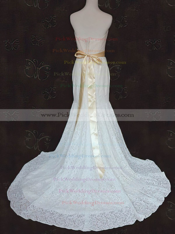 Hot Strapless Ivory Lace Sashes / Ribbons Trumpet/Mermaid Court Train Wedding Dress #PWD00021424
