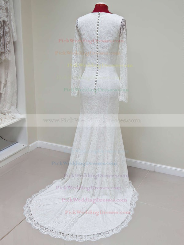 New Arrival Trumpet/Mermaid Lace Scoop Neck Ivory Long Sleeve Wedding Dresses #PWD00021428