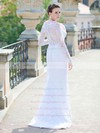 Sheath/Column Scoop Neck Long Sleeves White Lace Sweep Train Wedding Dress #PWD00021429