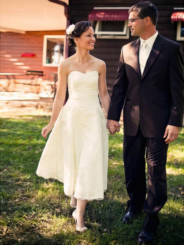 Taffeta Sweetheart Bow Tea-length Lace Ivory Casual Wedding Dress #PWD00021432