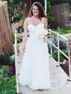 Simple White Tulle Spaghetti Straps Sweetheart Floor-length Wedding Dresses #PWD00021434