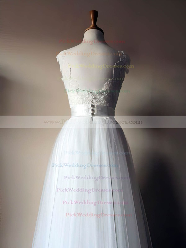 Stunning Scoop Neck White Lace Tulle Sashes / Ribbons Floor-length Wedding Dresses #PWD00021435
