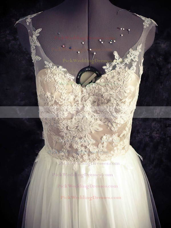 Sweetheart White Tulle Appliques Lace Open Back A-line Wedding Dresses #PWD00021436
