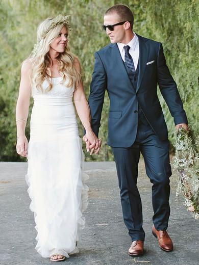 Ankle-length White Sweetheart Cascading Ruffles Sheath/Column Organza Wedding Dresses #PWD00021439