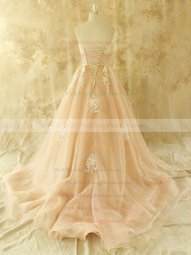 Champagne Organza Appliques Lace Strapless Lace-up Chapel Train Wedding Dresses #PWD00021441
