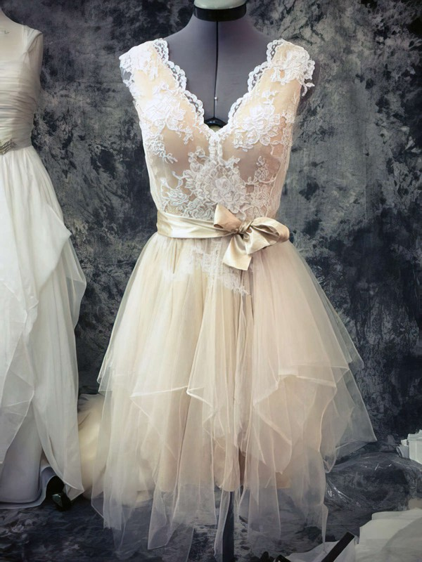 Cute Asymmetrical V-neck Tulle Sashes/Ribbons Lace Champagne Short Wedding Dresses #PWD00021442