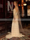 Multi Colours Chiffon Tulle with Appliques Lace Trumpet/Mermaid Long Sleeve Wedding Dress #PWD00021443
