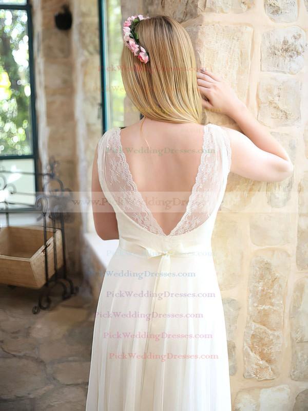 Sweet Chiffon Lace V-neck A-line Sashes/Ribbons Ivory Wedding Dresses #PWD00021446