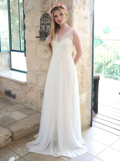Sweet Chiffon Lace V-neck A-line Sashes/Ribbons Ivory Wedding Dresses #PWD00021446
