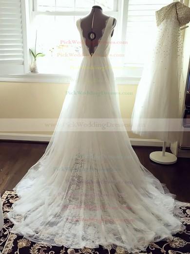 Elegant V-neck Ivory Tulle with Lace Sashes/Ribbons Court Train Wedding Dresses #PWD00021448