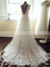 Elegant V-neck Ivory Tulle with Lace Sashes/Ribbons Court Train Wedding Dresses #PWD00021448