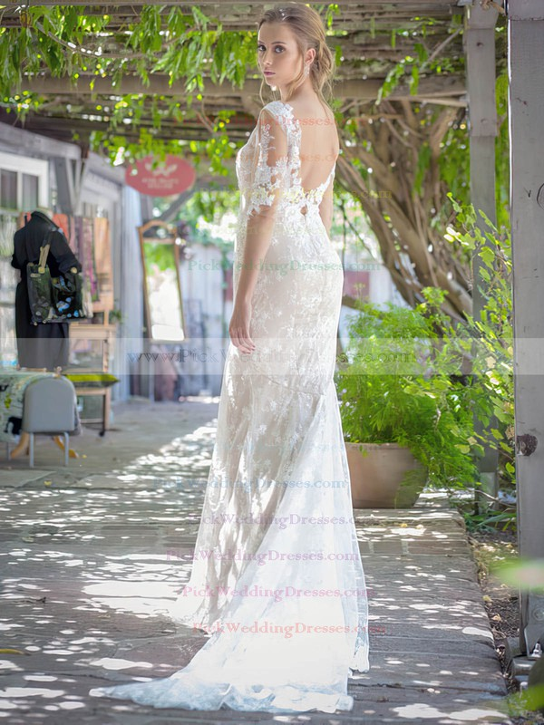 Watteau Train 1/2 Sleeve Sparkly Ivory Lace Trumpet/Mermaid Wedding Dresses #PWD00021451