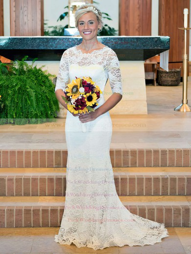 Trumpet/Mermaid White Lace Scoop with Open Back 3/4 Sleeve Modest Wedding Dress #PWD00021456