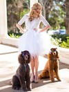 Ball Gown Short/Mini Lace Tulle Ruffles Scoop Neck Wedding Dresses #PWD00021457