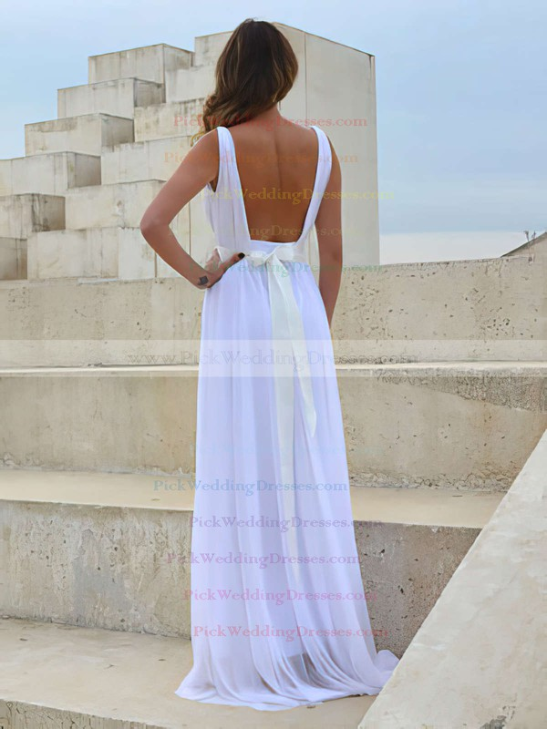 V-neck White Chiffon Lace with Sashes/Ribbons Open Back Wedding Dress #PWD00021458