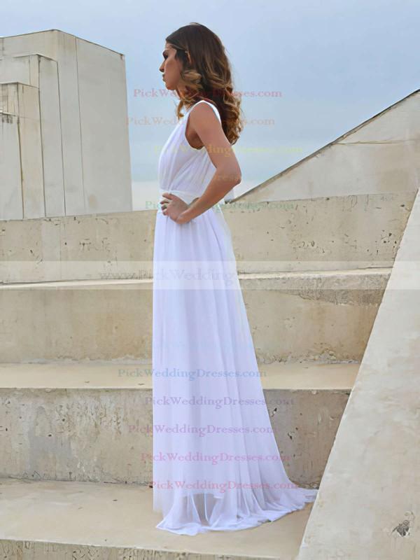 V-neck White Chiffon Lace with Sashes/Ribbons Open Back Wedding Dress #PWD00021458