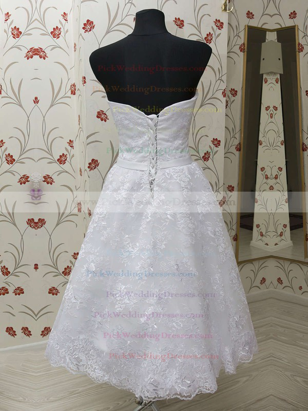 Vintage Sweetheart White Lace Tea-length Lace-up Sashes Wedding Dresses #PWD00021459