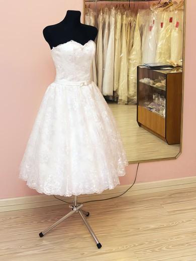 Vintage Sweetheart White Lace Tea-length Lace-up Sashes Wedding Dresses #PWD00021459