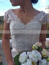Different Watteau Train Ivory Lace Cap Straps Off-the-shoulder Wedding Dresses #PWD00021460