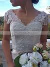 Different Watteau Train Ivory Lace Cap Straps Off-the-shoulder Wedding Dresses #PWD00021460