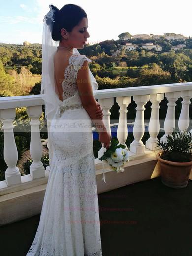 Sweetheart Ivory Lace Beading Straps Trumpet/Mermaid Open Back Wedding Dresses #PWD00021461