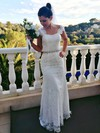 Sweetheart Ivory Lace Beading Straps Trumpet/Mermaid Open Back Wedding Dresses #PWD00021461