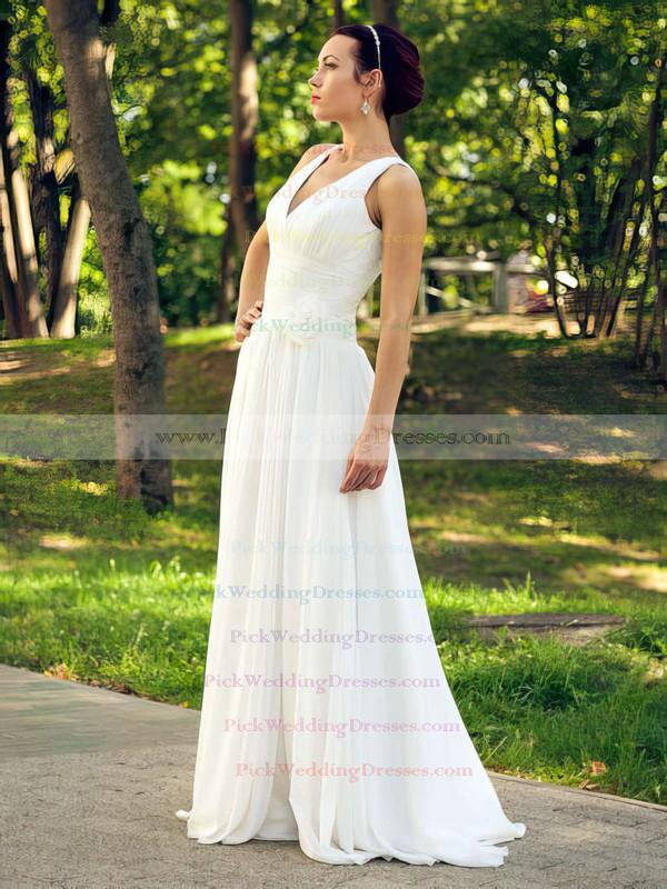 Online Ivory Ruffles V-neck Floor-length Chiffon Wedding Dresses #PWD00021463
