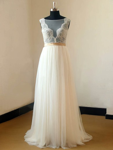 Pretty Scoop Neck Ivory Tulle Appliques Lace Sweep Train Straps Wedding Dresses #PWD00021467