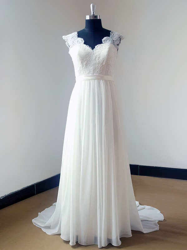 Beautiful Sweep Train Ivory Lace Chiffon V-neck Backless Wedding Dress #PWD00021468