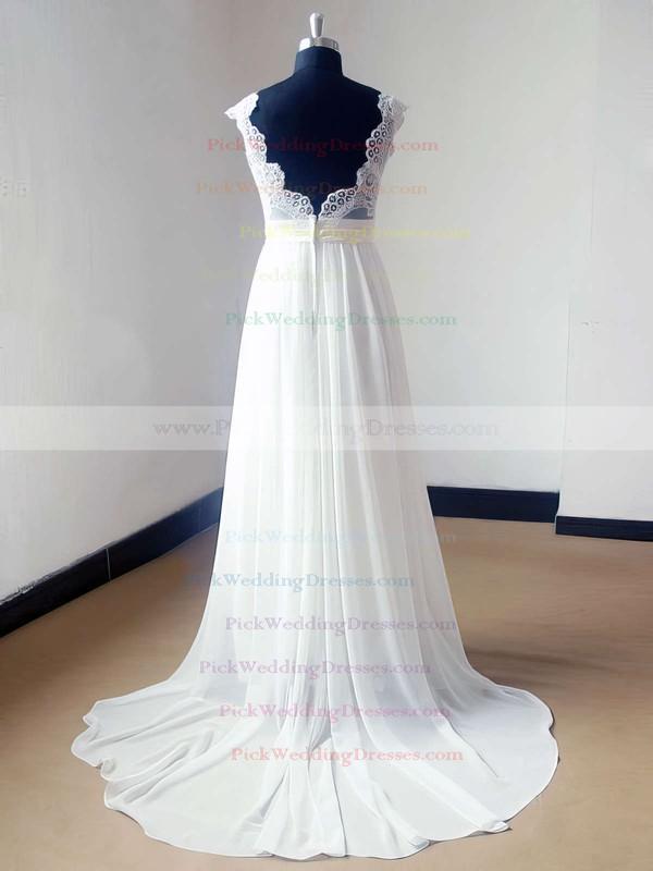 Beautiful Sweep Train Ivory Lace Chiffon V-neck Backless Wedding Dress #PWD00021468