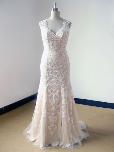 Champagne Tulle with Lace V-neck Classy Open Back Trumpet/Mermaid Wedding Dress #PWD00021469