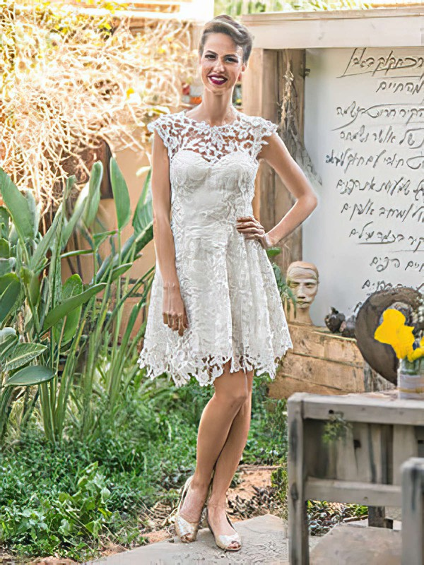 Scoop Neck Knee-length White Ruffles Backless Casual Lace Wedding Dresses #PWD00021472