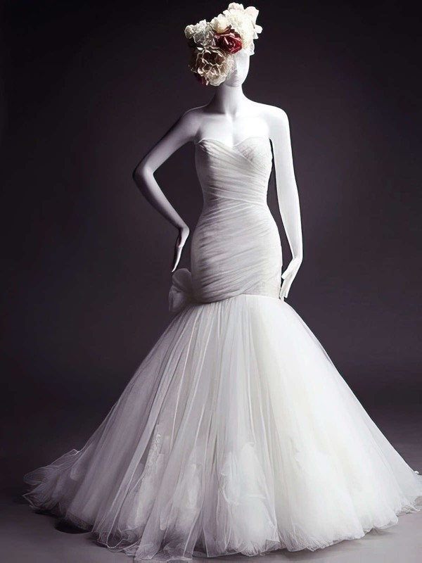 Designer Sweetheart Tulle Bow and Flower(s) White Trumpet/Mermaid Wedding Dresses #PWD00021473