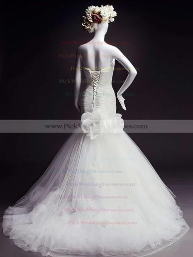 Designer Sweetheart Tulle Bow and Flower(s) White Trumpet/Mermaid Wedding Dresses #PWD00021473