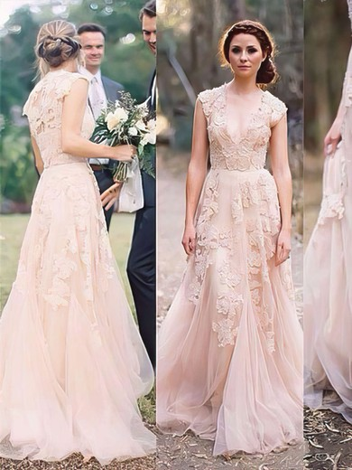 V-neck with Cap Straps Tulle Appliques Lace Classy Pearl Pink Wedding Dress #PWD00021475
