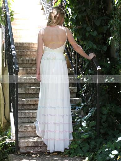 Nicest White Chiffon Lace Spaghetti Straps V-neck Backless Wedding Dresses #PWD00021481