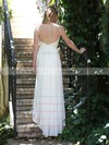 Nicest White Chiffon Lace Spaghetti Straps V-neck Backless Wedding Dresses #PWD00021481