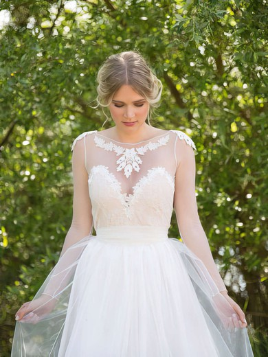 White Tulle with Appliques Lace Scoop Neck Long Sleeve Wedding Dresses #PWD00021482